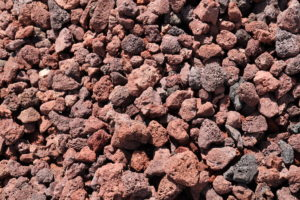 Red lava rock, decorative gravel, landscaping